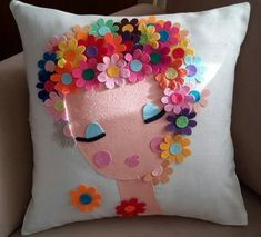 Ideas For Crochet Kids Pillow Crafts Cute Pillows, Diy Pillows, Decorative Pillows, Throw Pillows, Felt Diy, Felt Crafts, Diy And Crafts, Sewing Crafts, Sewing Projects