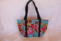 Ladies Bag Zip Top Tote MATTE FINISH Oil Cloth Waterproof Bag Flower print