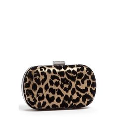 Women's Menbur Leopard Print Minaudiere ($58) ❤ liked on Polyvore featuring bags, handbags, clutches, multi color, chain-strap handbags, leopard print purse, leopard clutches, leopard print clutches and golden clutches