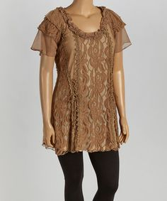 Another great find on #zulily! Brown Lace Silk-Blend Flutter-Sleeve Tunic - Plus by Pretty Angel #zulilyfinds