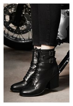 The Kooples SS14 #black #leather #ankle #boots #thekooples #woman #