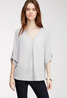 Tab-Sleeved Chiffon Blouse   FOREVER21 - 2000081517