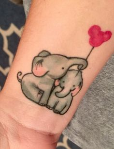 Mother and Baby Elephant Balloon tattoo - Disney Tattoo Ideas - The Best Elephant Tattoo Designs - Cute Elephant Tattoo Designs and Ideas - Sexy Thigh Tattoo, Small Elephant Tattoo, Elephant Outline, Elephant Tattoo Meanings Trendy Tattoos, Cute Tattoos, Beautiful Tattoos, Small Tattoos, Tatoos, Elephant Tattoo Design, Elephant Tattoos, Elephant Design, Tattoo For Son