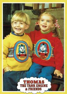 Thomas the tank engine style child sweater jumper knitting pattern boy, girl. Thomas the tank engine style child sweater jumper knitting pattern boy, girl. Knitting Patterns Boys, Jumper Knitting Pattern, Knitting For Kids, Double Knitting, Knitting Yarn, Stitch Toy, Thomas The Tank, Chunky Wool, Garter Stitch