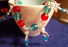 Christmas Angel Charm Bracelet  Red Blue and White by RedBudCrafts, $20.00