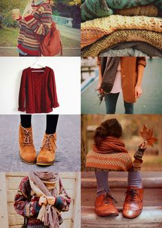 Autumn Lookbook. Stick to warm and spicy colours. Sweaters, scarves, laced up boots or shoes are always a go to throughout fall or autumn.
