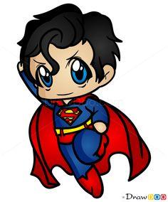 How to Draw Superman, Chibi Chibi Superhero, Chibi Superman, Superman Drawing, Chibi Marvel, How To Draw Superman, Marvel Drawings, Cartoon Drawings, Marvel Characters, Cartoon Characters