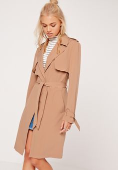 Trench coats are a timeless style statement so make sure you feast your eyes on this seasonless piece. Featuring an on trend tan hue, long…