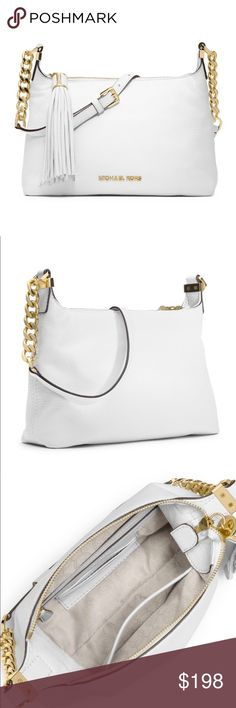 """Michael Kors White Bedford Pebbled Purse **sold out in stores!!**.    Michael Kors Small Bedford Tassel Pebbled Messenger Bag          Optic white leather. Golden hardware. Buckled chain and leather shoulder strap. Top zip with leather tassel. Logo on front bottom. Inside, monogram lining; one zip, one open pocket; card slots. 6 1/2""""H x 10""""W x 2""""D. Michael Kors Bags Crossbody Bags"""