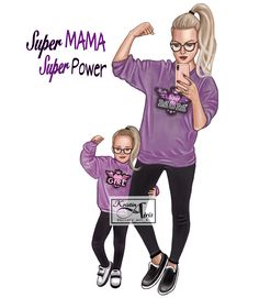 Mother Daughter Quotes, Mother Daughter Outfits, Mother Art, Mom Daughter, Sarra Art, Mommy And Me Photo Shoot, Girly M, Cartoon Girl Drawing, Digital Art Girl