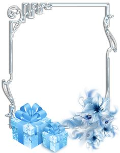 Silver and blue presents Christmas frame