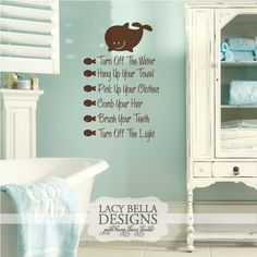 Vinyl Wall Decal For The Bathroom Checklist Fun Light Hearted Way To Remind Your Kiddos Of Routine