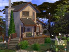 A cozy cabin in the middle of the woods. Found in TSR Category 'Sims 4 Residential Lots' Sims 4 House Plans, Sims 4 House Building, Sims 4 Ps4, Sims Cc, The Sims 4 Lots, Sims 4 House Design, Casas The Sims 4, Sims 4 Build, The Sims4
