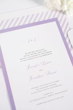 Elegant purple wedding invitations with contemporary borders. What are your wedding colors? Ask us how we can customize your wedding invitations to match your wedding theme!
