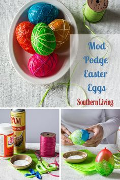 Mod Podge Easter Eggs | Water balloons, kitchen supplies, and a little Mod Podge come together to make these vibrant eggs, perfect for centerpieces and tabletop accents.