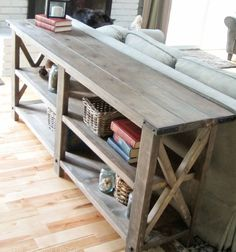 rustic side table made form planking