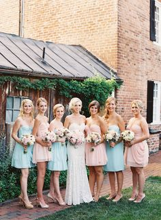 Pink Rustic Virginia Wedding at Thomas Birkby House  Event Design and Planning by Urban Lace Events www.urbanlaceevents.com Pastel bridesmaid dresses by Sarah Seven