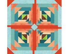 Logging On, Paper Pieced Quilt Block Pattern, log cabin quilt block, instant download, star quilt pattern, geometric quilt, easy quilt