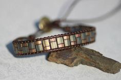 Matte Grey/Rose Tila Bead Brown Leather Single Wrap Bracelet
