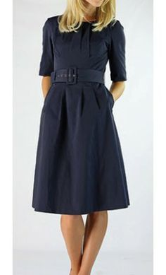 Lena - half sleeve pleated dress with belt. Available in Navy and Plum, XS to 2XL