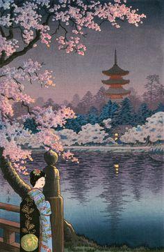 "Japanese Art Print ""Geisha and Cherry Tree, Ueno Park"" by Ts.- Japanese Art Print ""Geisha and Cherry Tree, Ueno Park"" by Tsuchiya Koitsu, woodblock print reproduct Source by etsy - Geisha Kunst, Geisha Art, Japanese Art Prints, Japanese Artwork, Japan Illustration, Botanical Illustration, Art Occidental, Japan Painting, Art Asiatique"