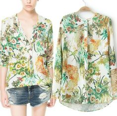 Free shipping New women Retro vintage Green color floral printed loose blouse bird print ZA women shirt chiffon blouses CSH036 $10.98 - 11.68