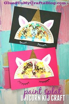 Paint Splat Unicorn Kid Craft Idea - Glued To My Crafts Does your child love unicorns? Well let's get crafty and make a magical Paint Splat Unicorn together! Easy Crafts For Kids, Summer Crafts, Projects For Kids, Fun Crafts, Art For Kids, Quick Crafts, Cork Crafts, Paper Crafts, School Age Crafts