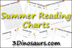 Summer Reading Charts - 100 sticker chart, 1 to 100 author – title – date, and 5 different Observations by 3Dinosaurs.com