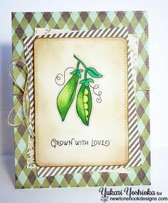 Grown with Love Pea Pod card by Yukari Yoshioka | Vegetable Garden stamp set by Newton's Nook Designs #newtonsnook