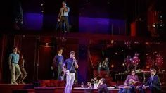 """The Boys in the Band"", Booth Theatre, Broadway. Lighting Design by Hugh Vanstone. Set Design by David Zinn.  Associate Lighting Designer Craig Stelzenmuller, Moving Light Programmer Alex Fogel, Production Electrician Dan Coey, and House Electrician David Karlson."