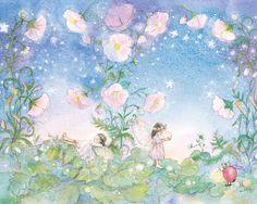 Zwei+Feen+in+einem+Garten+immergrün+mit+rosa+von+Periwinklesky,+$29,99
