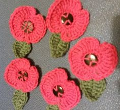 Crochet poppies - I made these in 2015 in exchange for a donation to an armed forces charity. © LIsa Benjamin www.handmadeflowers.co.uk