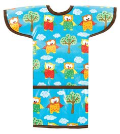 Your toddler will stay clean at meal time with this short sleeved toddler bib. With neck to knee coverage and a large front pocket, your childs clothes will remain protected. Made from our custom designed laminated fabric, it is easy to wipe clean and is also machine washable. It ties at the neck for easy on and easy off, making it ideal for toddlers and young children (1T-3T). Made in the U.S.A.