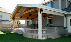 In this article we showcase 15 mobile home deck plans ideas. Discover mobile home deck plans design and ideas inspiration from a variety of color, decor and theme options. Porch Roof Design, Patio Design, House Design, Porch Designs, Studio Design, Garden Design, Covered Deck Designs, Covered Decks, Mobile Home Deck