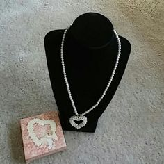 "Avon Sentimental Heart Necklace 20"" Brand new ladies necklace  which heart-shaped with pearls. Avon Jewelry Necklaces"