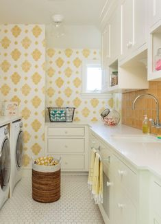 Love the retro vibe, love the color -Bel  yellow and white laundry room Alison Kandler