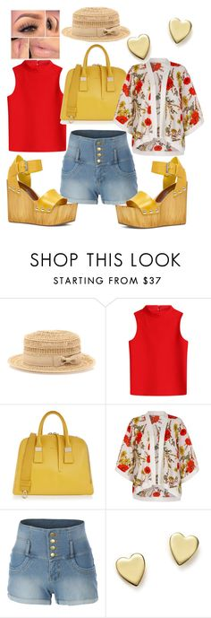 """""""Be sweet my amigas"""" by ladeej ❤ liked on Polyvore featuring Bebe, Courrèges, Furla, Yumi, LE3NO, Bloomingdale's and ALDO"""