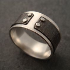Mind The Gap Ring with Hammered Lines by DownToTheWireDesigns, $92.00