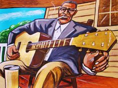 "HOWLIN WOLF ORIGINAL PAINTING man cave art-delta blues guitar cd lp record london sessions live and cookin. 30x22"""" ACRYLIC PAINTING on heavy art paper. This ""READY TO FRAME"" painting will be professionally packed and shipped in a sturdy mailing tube, insured via USPS Priority Mail. I am John Froehlich the artist. My vibrant colored artwork will become a focal point and conversation piece in your home, man cave, business or office!-I have sold thousands of paintings and commissioned..."