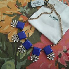 J. Crew Necklace Blue Brand new with original price tags and dust bag from J crew. Beautiful antiqued brass chain with 5 faceted blue quare stones and white rhinestine accents . All stones intact and no scratches. J crew toggle near the lobster claw closure. Retail $55. Bundle with over 400 listings in my closet for a discount. I also offer custom bundles on purchases of three or more upon request. J. Crew Jewelry Necklaces