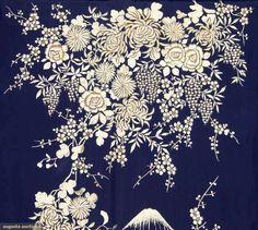 Embroidered Export Kimono, Japan, Marine blue silk, back lavishly embroidered w/ white silk flowers, mountain & temple, 1930-1950