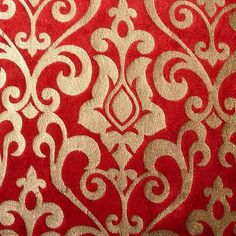 Red Damask - Velvet Fabric With Gold Print