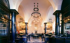 The Wolseley is an all-day restaurant located on Piccadilly in Mayfair, London. It was designed by David Collins Studio for Jeremy King and Chris Corbin. David Collins, Beaumont Hotel, 24 Hours In London, The Wolseley, Living In London, Restaurant Interior Design, Restaurant Interiors, Bar Interior, Studio Interior