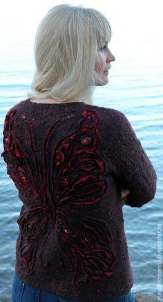 Купить Жакет валяный Red Butterfly - коричневый, рисунок, жакет валяный, жакет с бабочкой