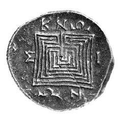 Moneta di Cnosso con labirinto quadrangolare - II a.C.