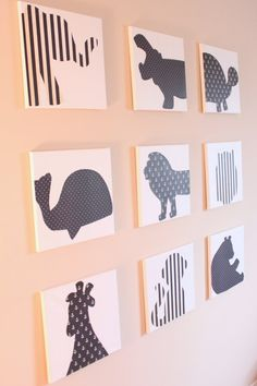 Set of 9 - CUSTOM Modern Nursery / Children's / Playroom Art Decor - 12x12 Stretched Canvases (shown in navy). Great for a boy or girl's room! You can select any animals you'd like and in any color combination!