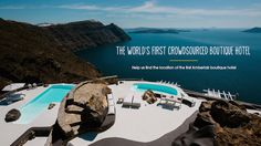Always wanted to go to Santorini. this place looks magical! Island Villa, Summer Photos, Santorini Greece, Cool House Designs, Greek Islands, Luxury Travel, First World, Indoor Outdoor, Around The Worlds