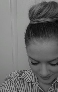 super cute braid bun by @Liz Wood via twitter --- Did this tonight. Super easy, only took an extra minute. Husband said it looked cute :)