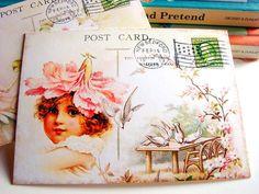 Victorian Postcard Set Gardens Doves Fairies Bunny by MimiAndLucy