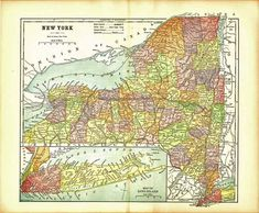 This color map ofNew York is dated 1891 on the face and was included in an encyclopedia set published between 1891 and 1891 Engraved Color Map This is a genuine map from 1891 - NOT a Reproduction. State Map, Antique Maps, Vintage World Maps, New York, Colorful, Ebay, Old Maps, New York City, Nyc